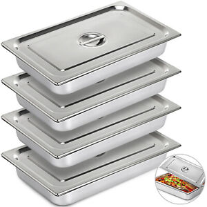 Steam Table Pans Bain marie 4 Pack Hotel Buffet Pans 20 X 12 Stainless Steel