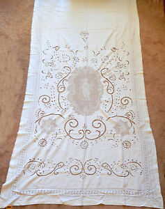 Antique Italian Linen Figural Lace Bed Cover Table Cloth Hand Crafted