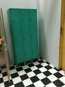 Uline Painted Green Metal 9 Door 3 Tier Employee School Locker