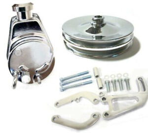 Small Block Chevy Chrome Saginaw Power Steering Pump Bracket Kit Keyway Pulley