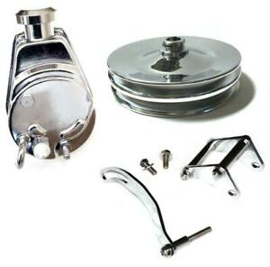 Small Block Chevy Chrome Saginaw Power Steering Pump Keyway Pulley Sbc Bracket