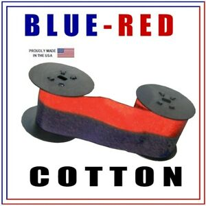 Lathem Time Clock 7 2cn Compatible Ink Ribbon Blue red Cotton Fits 2100 4200