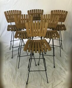 Set Of 6 Mid Century Modern Arthur Umanoff Tiki Wood And Metal Swivel Bar Stools