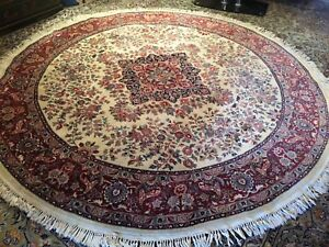 Large Fine Quality Round Antique Wool Hand Knotted Persian Rug Carpet Runner