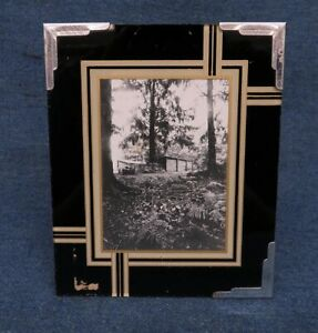 Vintage Reverse Painted 3 Color Black Cream Gold Picture Frame W Metal Corners