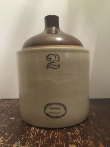 Antique 2 Gallon Crock Jug Western Stoneware Company Monmouth Illinois