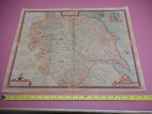 100 Original Large Yorkshire Map By John Speed C1646 Hand Coloured