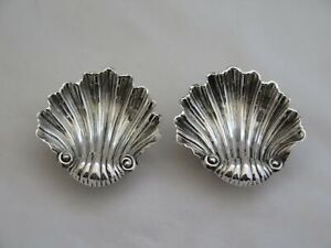 Pair Of Antique English Sterling Silver Seashell Salt Dishes
