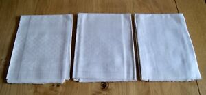 3 Unused Antique Linen Huckaback Towels Geometric Check Floral 39 X 19 H11