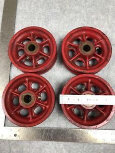 4pc Red V Groove Steel 6 Wheels
