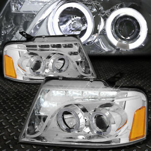 Dual U Halo For 2004 2008 Ford F150 Chrome Amber Projector Headlight W Led Drl