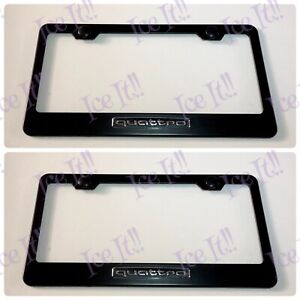 2x 3d Quattro Audi S line Black Stainless Steel License Plate Frame W Caps