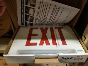 Beghelli Brzlr1w Led Exit Sign Emergency Light Pipe Combo red