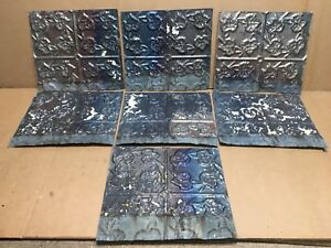 7pc Lot Of 12 By 11 Antique Ceiling Tin Vintage Reclaimed Salvage Art Craft