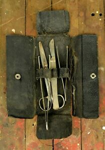 Antique Surgical Medical Pocket Field Kit In Simulated Leather Case Early 1900s