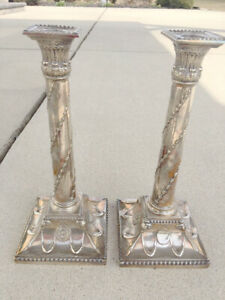 Sheffield Silver Plate Column Candlesticks One Pair Unmarked
