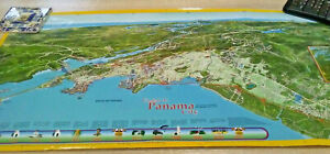 Panama City Canal View Map Atlas Central America Caribbean Atlantic Pacific