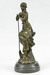 Shepherd Girl With Flowers Bronze Statue By Moreau 14 X 5