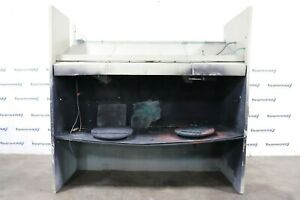 Open Front Bench 107 W X 42 D X 34 H Paint Spray Booth W 2 Exhaust Fans