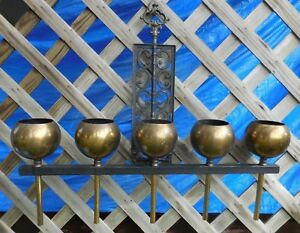 Mid Century 5 Brass Ball Globe Orb Planter Vase Metal Scroll Wall Art Lamp Parts