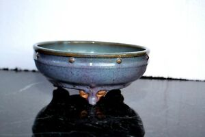 Very Rare Asian Antique 8 10th C Chinese Pottery Bowl With 3 Feet