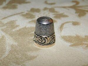 Vintage Sterling Silver Thimble W Gold Band Scrolls Simon Brothers 925 Size 10