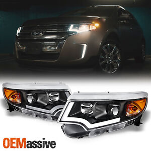 Halogen Upgrade Fit 2011 2014 Ford Edge Led Drl Black Projector Headlights