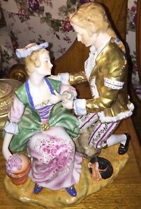 Antique German Germany Rare Dresden Porcelain Figurine Large Seated Lady And Man