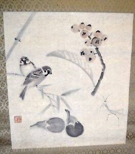 Vintage Collectible Japanese Silk Hand Painted Scroll Signed By Artist