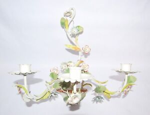 Vintage Tole Metal Candle Holder Wall Sconce Flowers Italian
