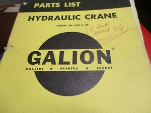 Galion Hydraulic Crane Parts Book Manual