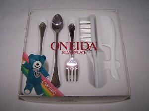 Oneida Community Silver Plate Infant 3pc Set Infant Baby Spoon Fork Comb