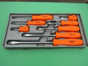 Snap On Orange Handle Screwdriver Set 8 Pc Sddx80o Sdd Sddp Phillps Flat W tray