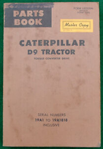 Caterpillar D9 Tractor Parts Book 1968 Edition