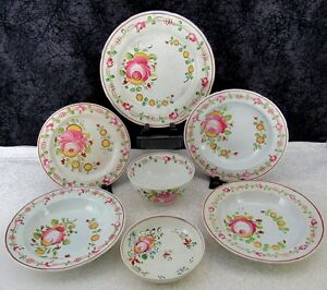 7 Pcs Antique Staffordshire Gaudy Dutch Queen S Rose Pearlware Plates Bowls