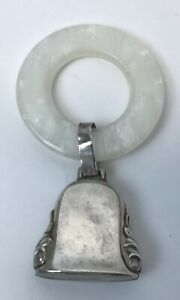 Vintage Antique Sterling Silver Baby Rattle Teething Ring Marked W Sterling