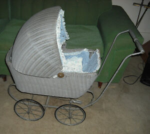 Antique Victorian Wicker Baby Doll Buggy Stroller Carriage Vintage Local Pickup