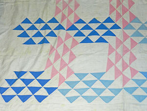 Awesome Primitive Antique Vintage White Blue Pink Ocean Waves Cutter Quilt