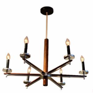 1960 S Rosewood And Chrome Chandelier Sputnik Midcentury