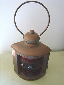 Antique Brass Ship Lantern Young S Night Light With Red Fresnel Lens
