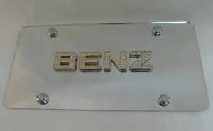 Mercedes Benz Crystal Gold Emblem License Plate Mirrored Tag