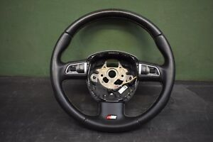 10 12 Audi S4 Steering Wheel Black 3 Spoke S line Black Leather Oem