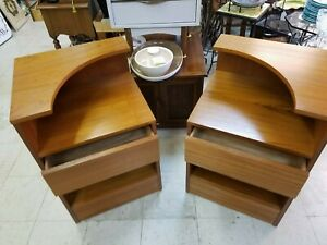 Pair Mid Century Danish Wood Nightstands End Tables