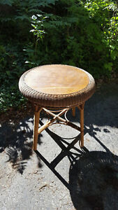 Antique Reed Wicker Round Table With Oak Top Natural Finish Unpainted C 1900