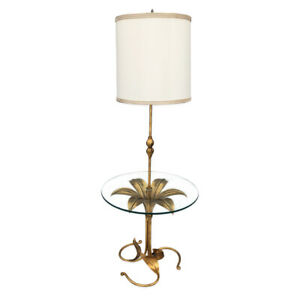 Mid Century Hollywood Regency Brass Floral Table Floor Lamp