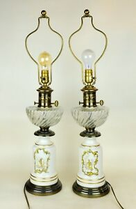Paul Hanson Vtg Pair Mid Century Crystal Brass Table Lamps Chinoiserie Asian Mcm