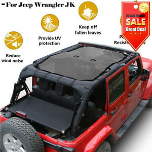 For Jeep Wrangler Black Sunshade Uv Protection Mesh Soft Top Cover Jk 2007 2017