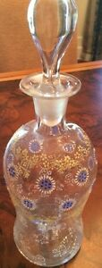 Antique Hand Blown And Enameled Broken Pontil Glass Decanter With Stopper