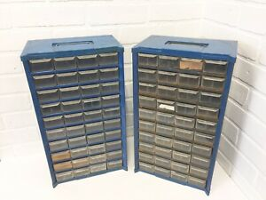 Pair Of Blue Vintage Small Parts Storage Cabinets 40 Plastic Drawers Organizers