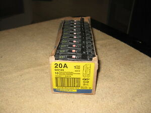 box Of 10 Square D Qo120 20 Amp 1 Pole Plug in Circuit Breaker